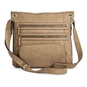 BUENO Neutral Taupe Multi Zip Crossbody Bag